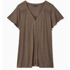 NWT Torrid Taupe Slub Button Front Swing Top Sz 2